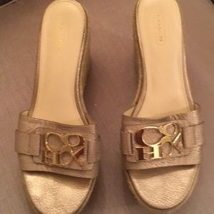 Coach high slip on wedge shoe size 8